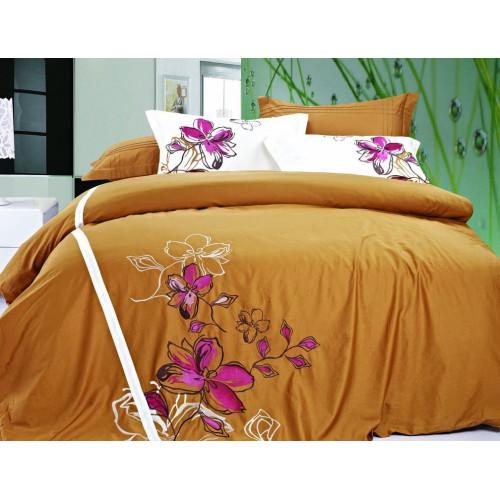 Комплект постельного белья Хлопок сатин с вышивкой ES-07