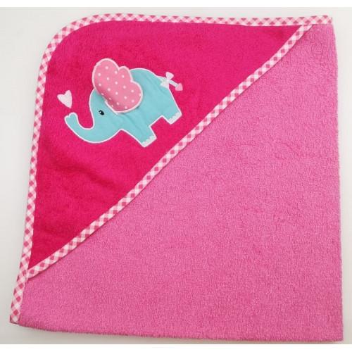 Уголок дет. махровый с вышивкой Слоненок с сердечком (розовый)