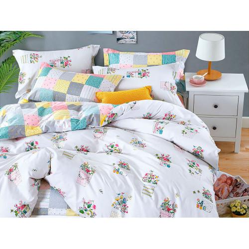 Комплект постельного белья 1,5-спальный, печатный сатин 1082-4XS