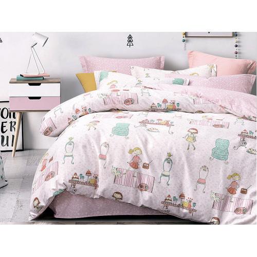 Комплект постельного белья 1,5-спальный, печатный сатин 1091-4XS