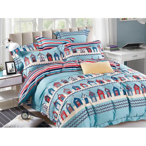 Комплект постельного белья 1,5-спальный, печатный сатин 1096-4XS